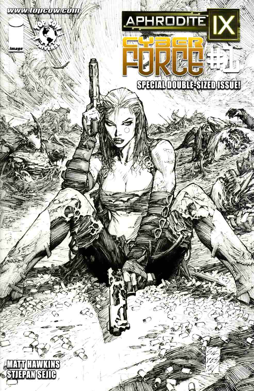 Aphrodite IX Cyber Force #1 Cover D- Silvestri B&W Incentive [Comic]_LARGE