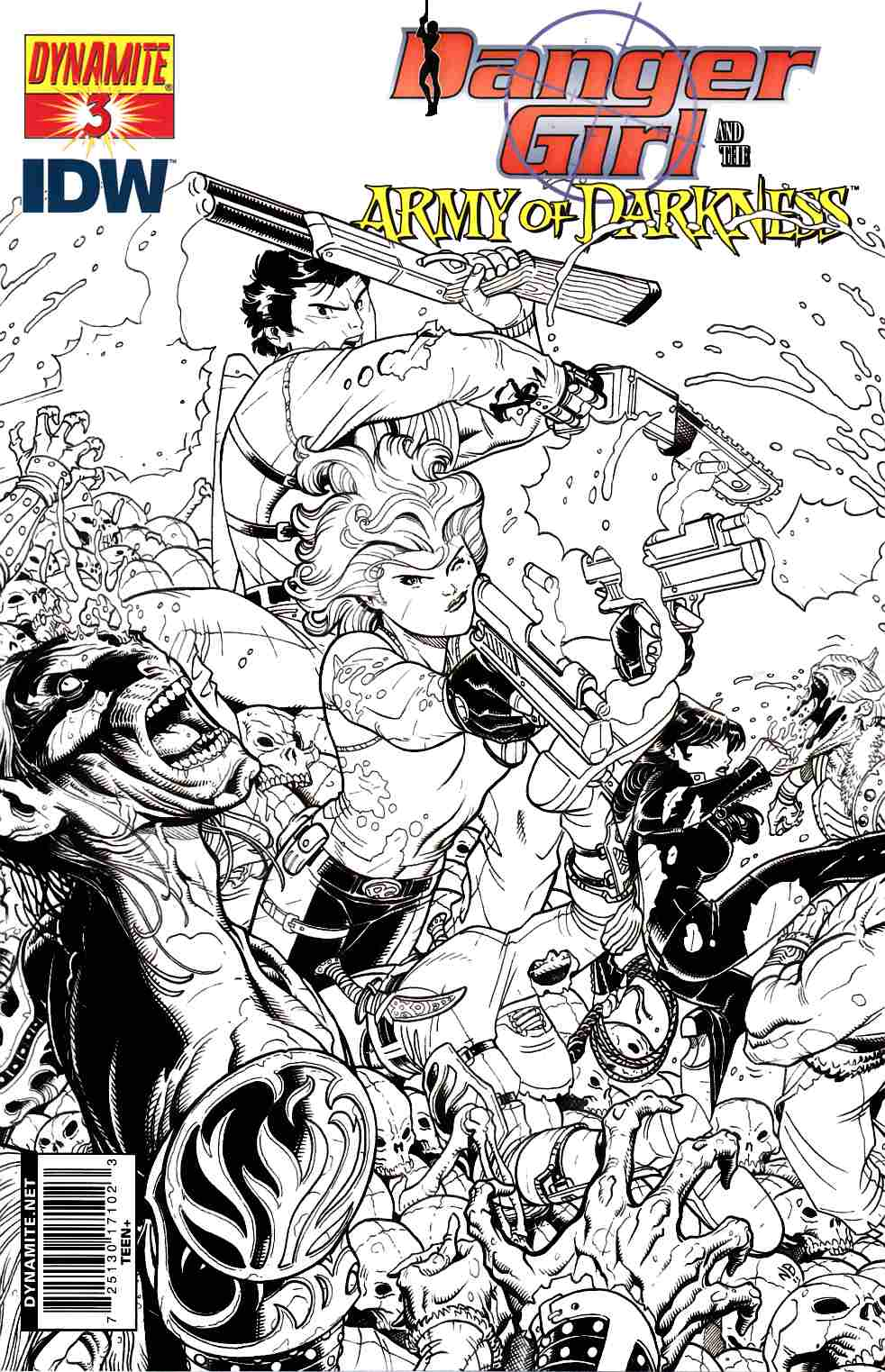 Danger Girl Army of Darkness #3 Bradshaw B&W Incentive Cover [Dynamite Comic] THUMBNAIL