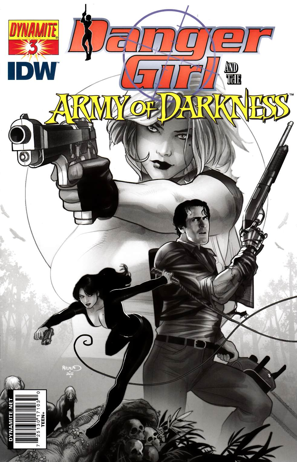 Danger Girl Army Of Darkness #3 Renaud B&W Incentive Cover [Dynamite Comic]_THUMBNAIL