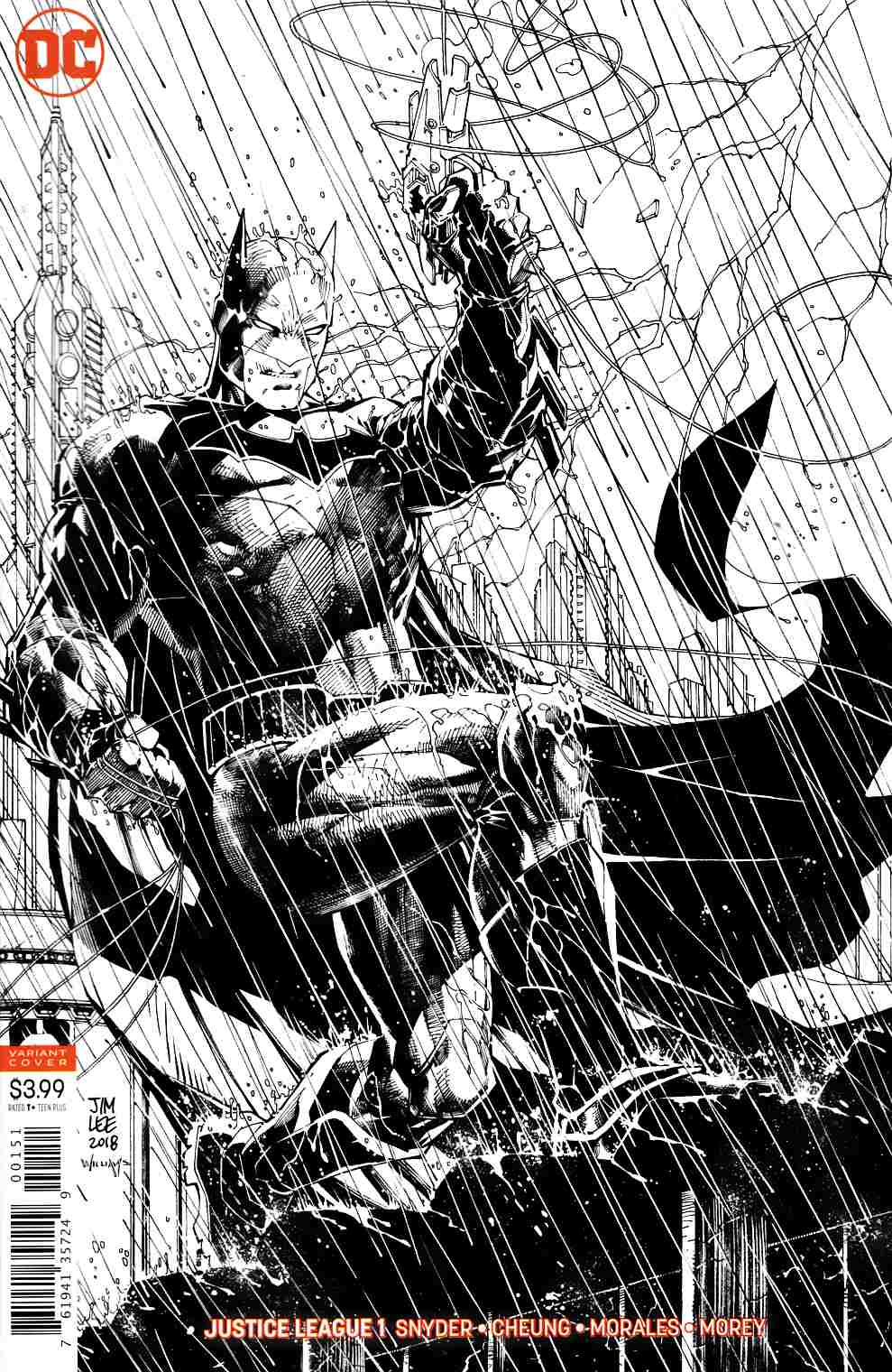 Justice League #1 Jim Lee Sketch Variant Cover Very Fine (8.0) [DC Comic] LARGE