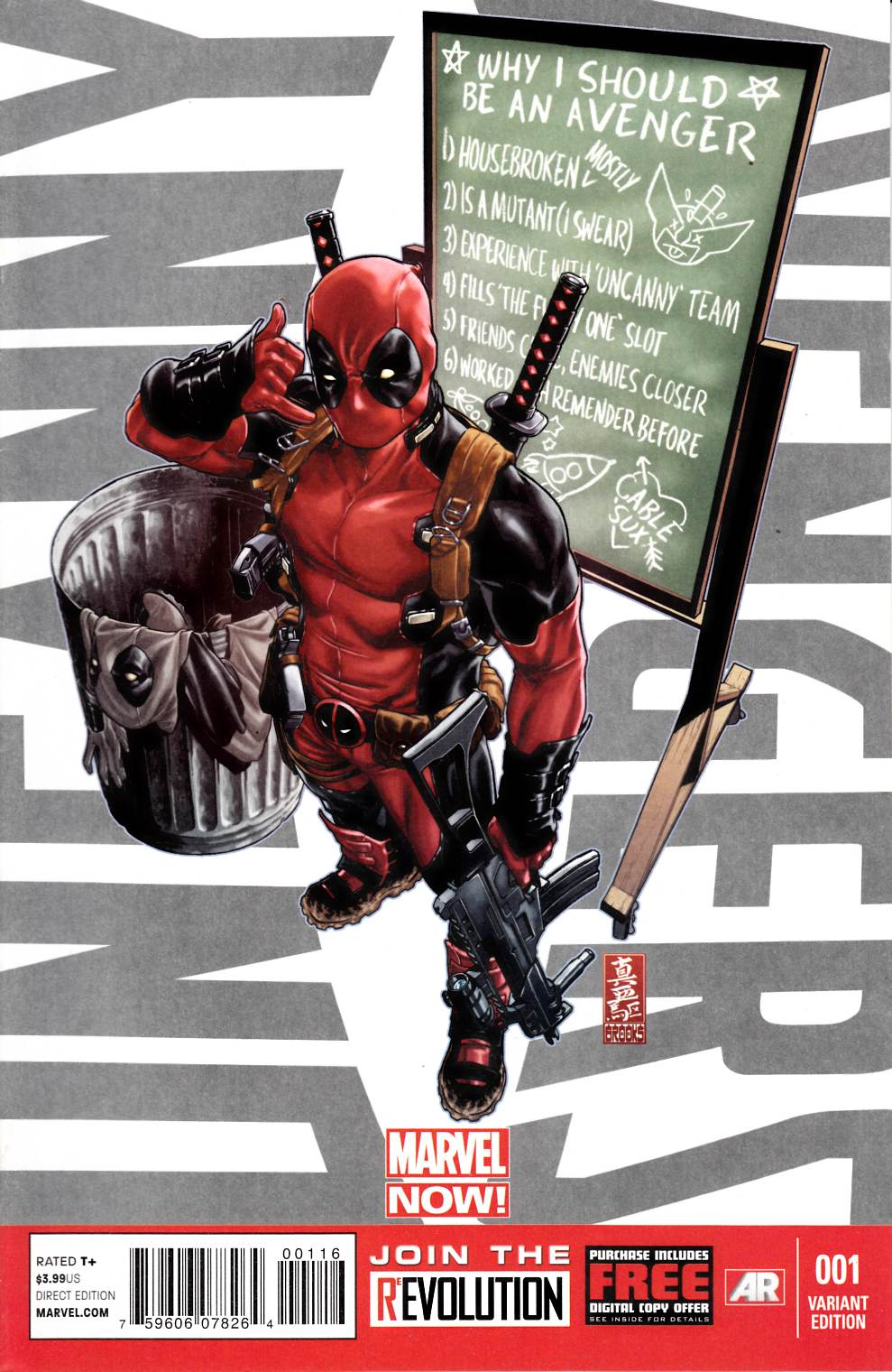 Uncanny Avengers #1 Deadpool Call Me Maybe Variant Cover Near Mint (9.4) [Marvel Comic] THUMBNAIL