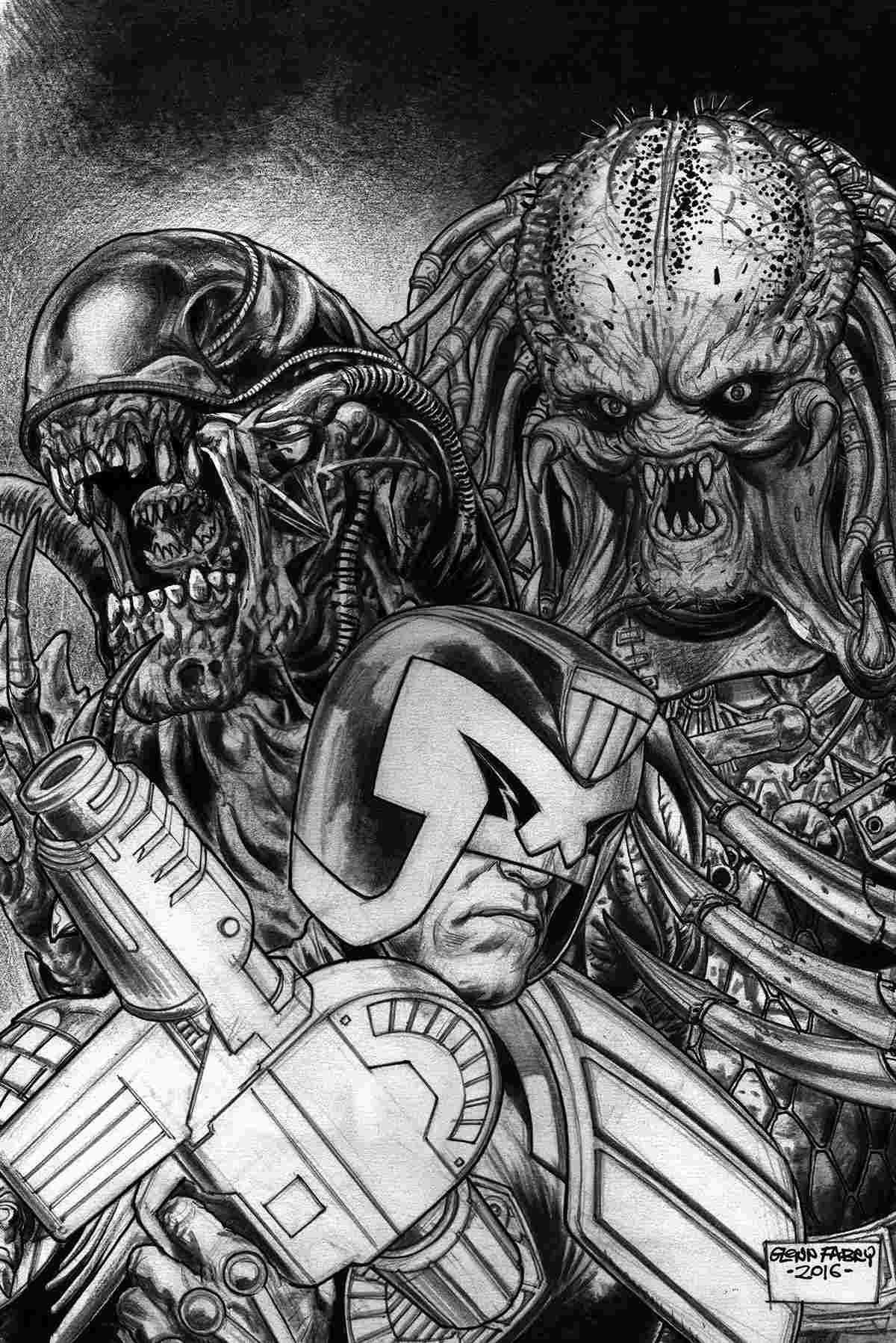 Predator vs Judge Dredd vs Aliens #4 Fabry Pencils Variant Cover [Dark Horse Comic]