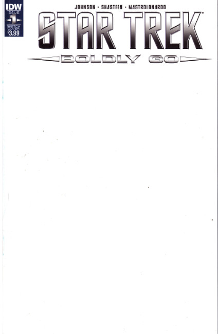 Star Trek Boldly Go #1 Blank Sketch Cover [IDW Comic] LARGE