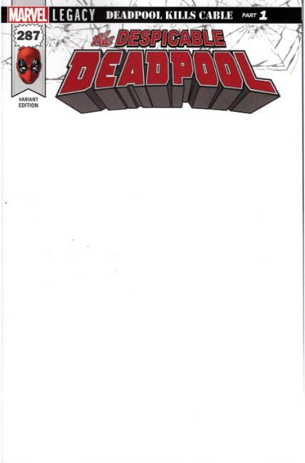 Despicable Deadpool #287 Blank Variant Cover [Marvel Comic] LARGE