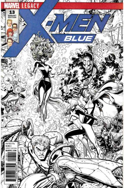 X-Men Blue #13 Art Adams B&W Connecting Variant Cover [Marvel Comic]_THUMBNAIL