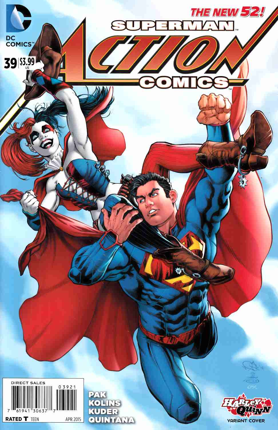 action comics 39 harley quinn variant cover dc comic. Black Bedroom Furniture Sets. Home Design Ideas