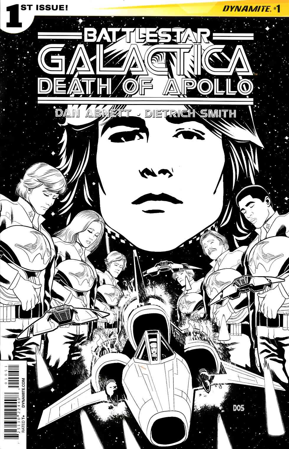 Battlestar Galactica Death of Apollo #1 Cover E- Smith B&W Incentive [Dynamite Comic]
