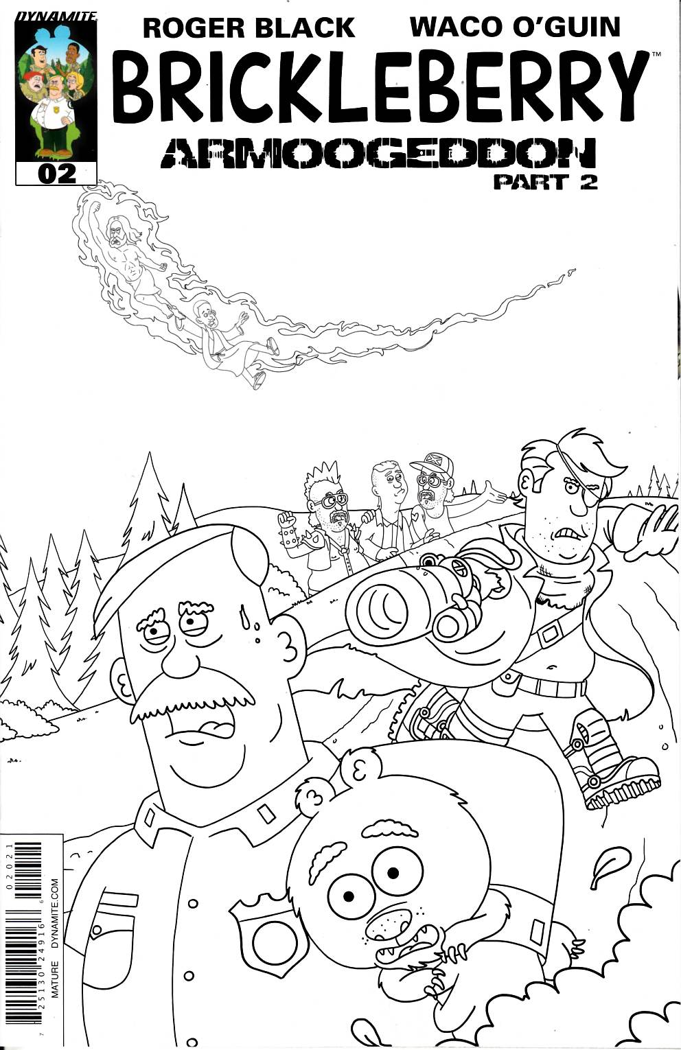 Brickleberry #2 Long B&W Incentive Cover [Dynamite Comic] LARGE