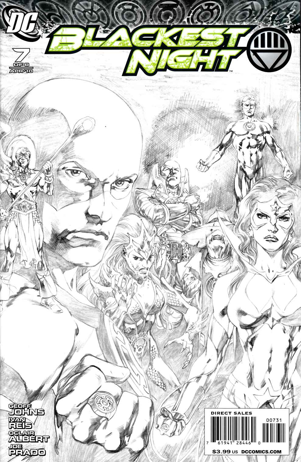 Blackest Night #7 Reis Variant Sketch Cover Near Mint (9.4) [DC Comic] THUMBNAIL