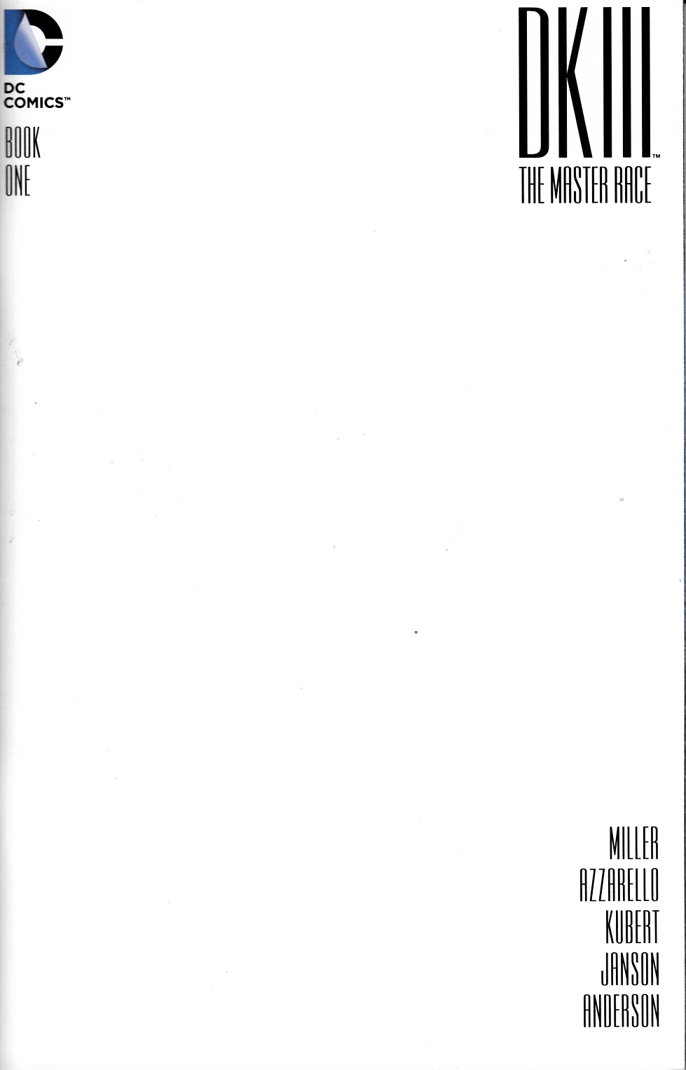Dark Knight III Master Race #1 Blank Cover [DC Comic] LARGE