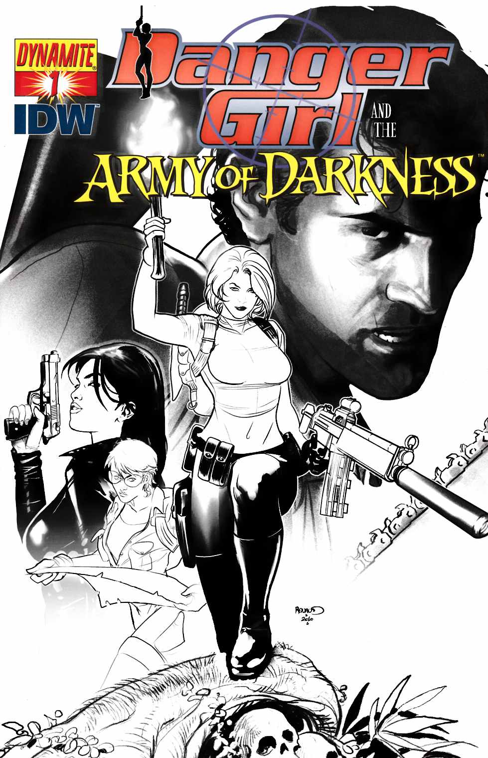 Danger Girl Army of Darkness #1 Cover E- Renaud B&W Incentive [Dynamite Comic] THUMBNAIL