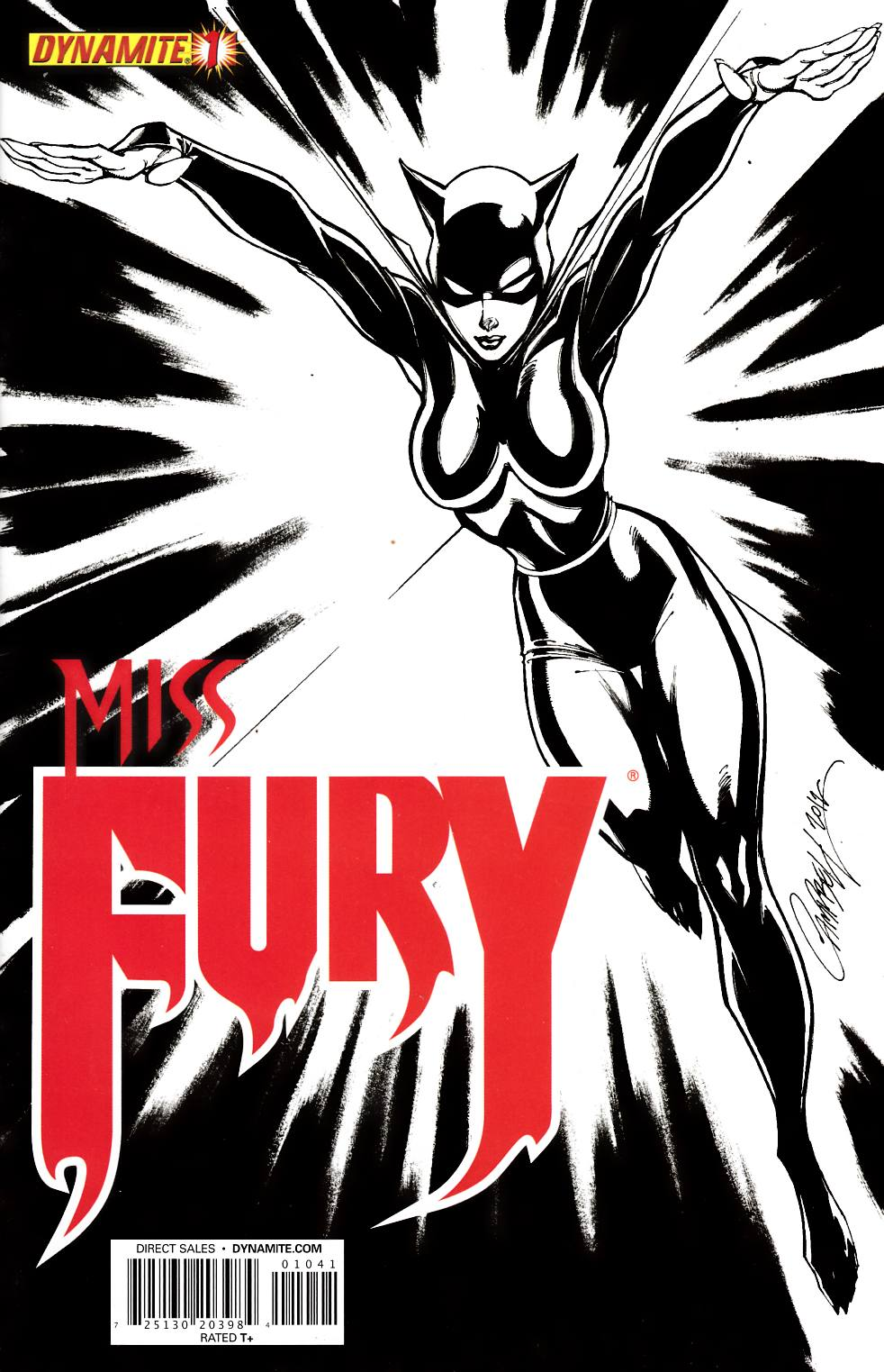 Miss Fury #1 Campbell B&W Incentive Cover Near Mint Minus (9.2) [Dynamite Comic]