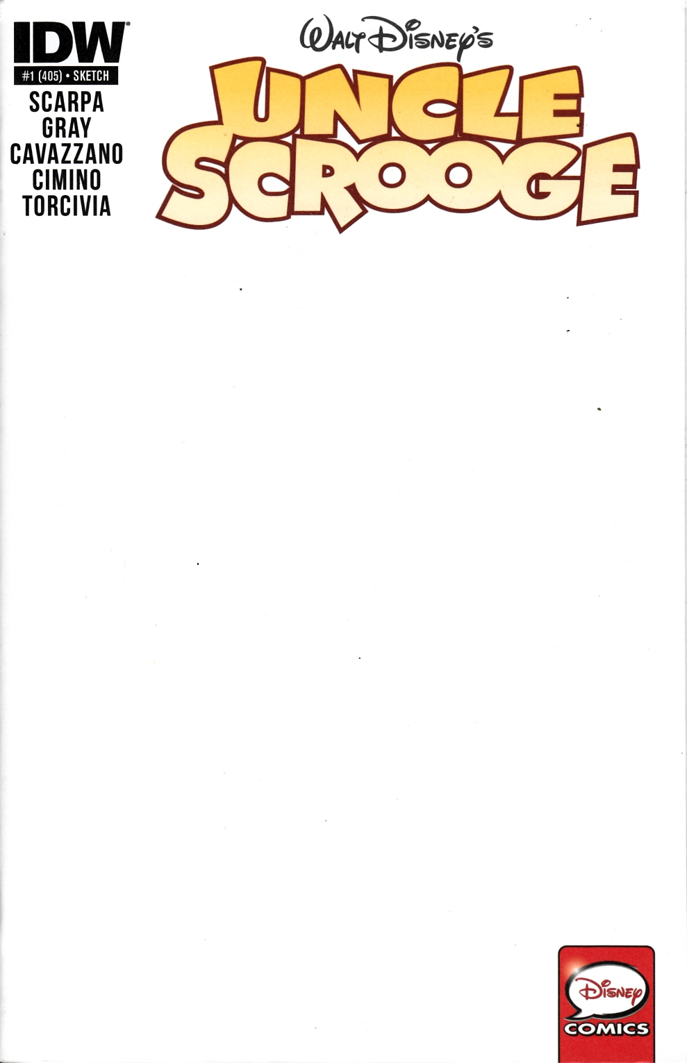 Uncle Scrooge #1 Blank Cover Near Mint Minus (9.2) [IDW Comic] LARGE