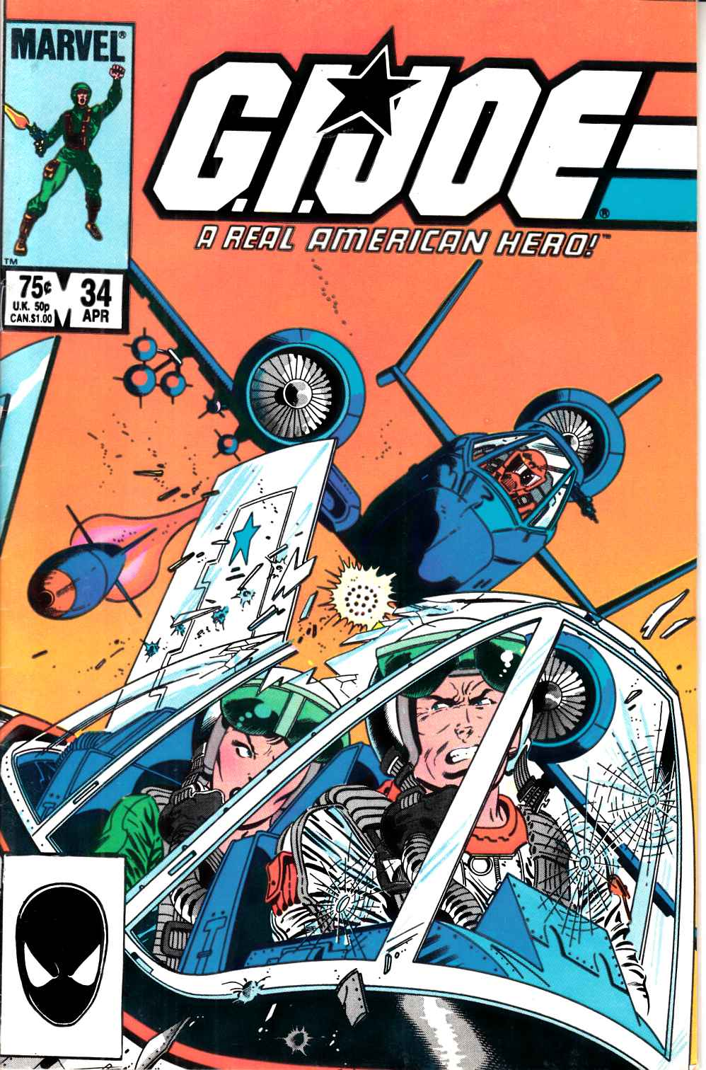 GI Joe A Real American Hero #34 Second Printing Fine (6.0) [Marvel Comic] LARGE