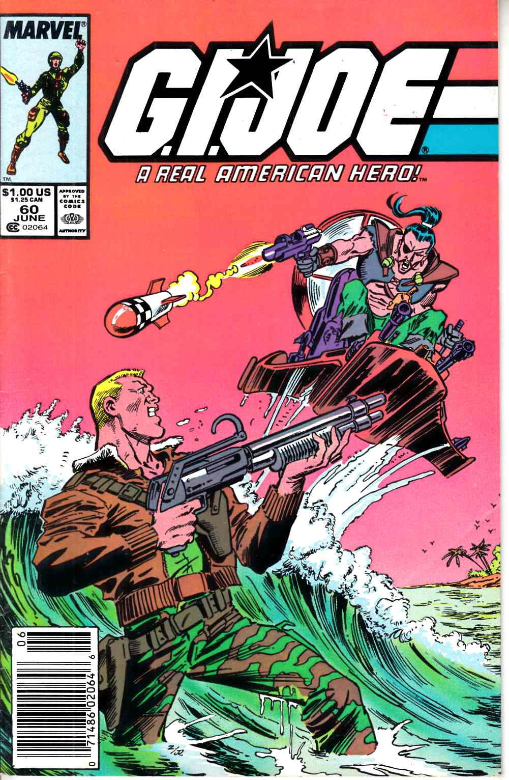 GI Joe A Real American Hero #60 Newsstand Edition Very Fine (8.0) [Marvel Comic] LARGE