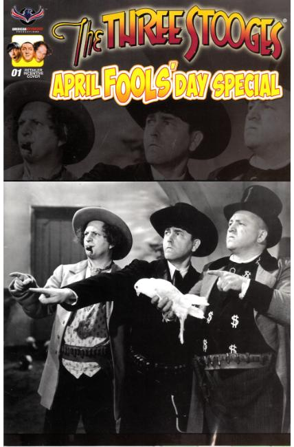 Three Stooges April Fools Day (One Shot) B&W Photo Cover [American Myth Comic] THUMBNAIL