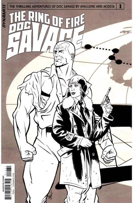 Doc Savage Ring of Fire #1 Cover C- B&W Variant Cover [Dynamite Comic] THUMBNAIL