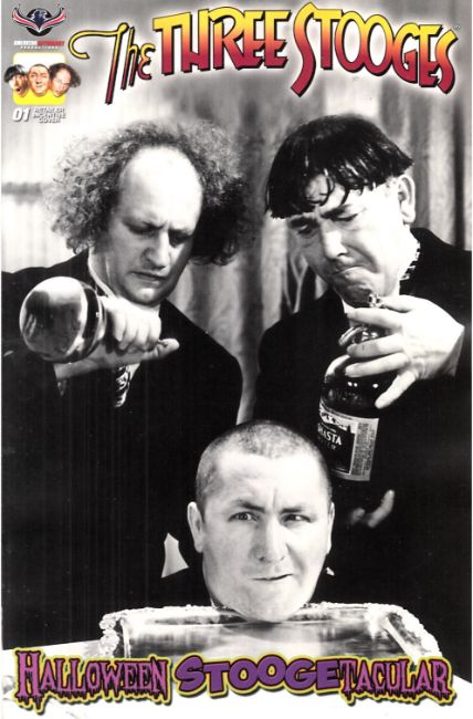 Three Stooges Halloween Stoogetacular (One Shot) B&W Incentive Photo Cover [American Myth Comic] THUMBNAIL