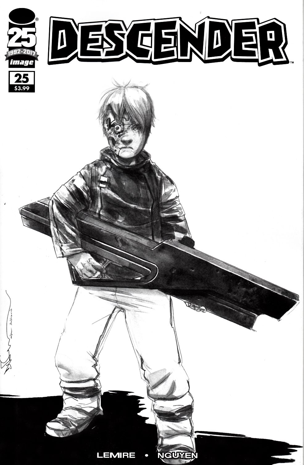 Descender #25 Cover D- Walking Dead #104 B&W Tribute Cover [Image Comic] THUMBNAIL