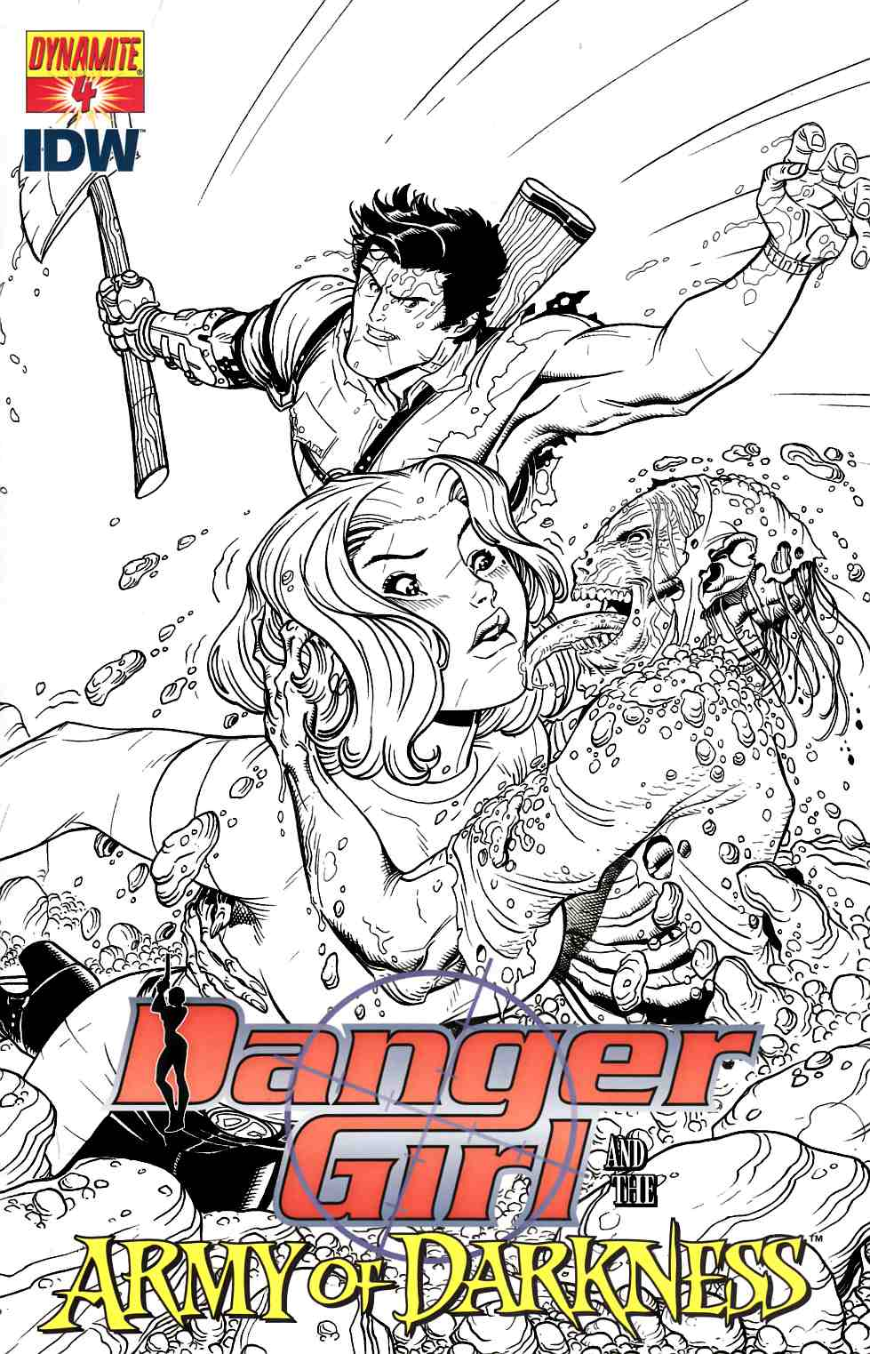 Danger Girl Army Of Darkness #4 Bradshaw B&W Incentive Cover [Dynamite Comic] THUMBNAIL