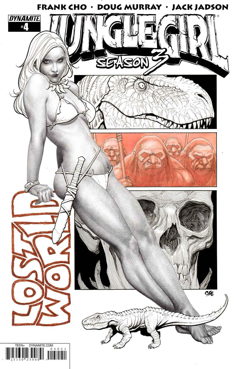 Jungle Girl Season 3 #4 Cover B- B&W Variant Cover [Dynamite Comic] THUMBNAIL