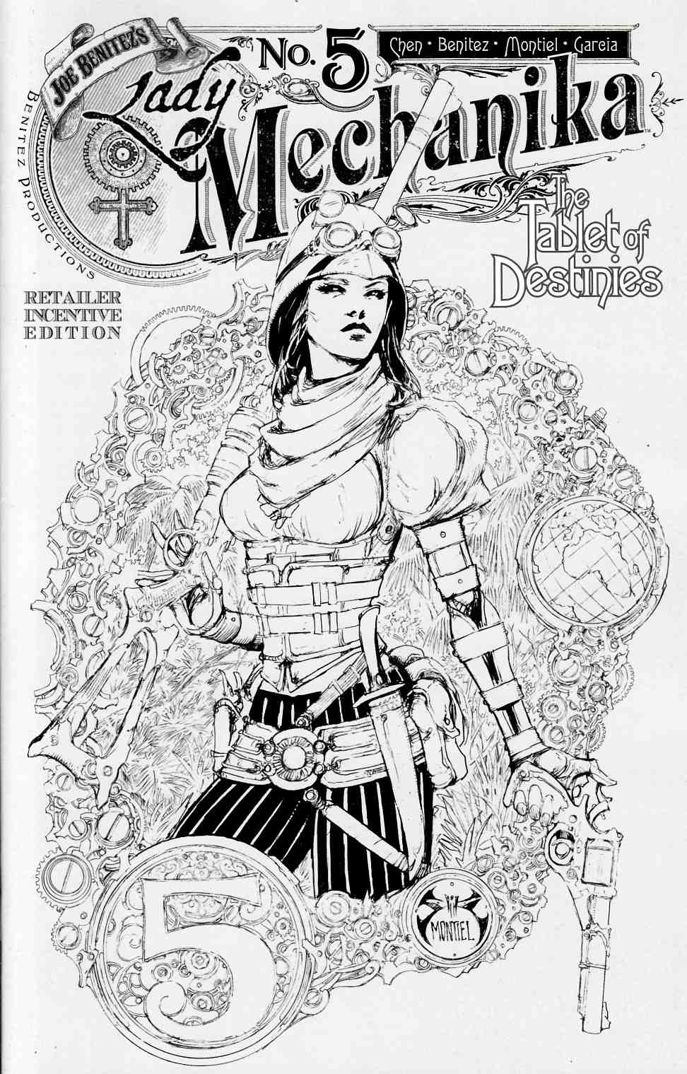 Lady Mechanika Tablet Of Destinies #5 B&W Benitez Variant Cover [Benitez Comic] THUMBNAIL