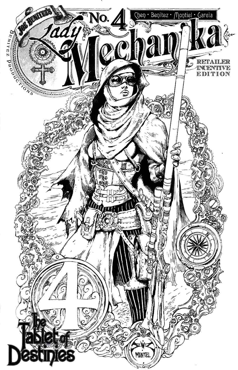 Lady Mechanika Tablet of Destinies #4 Cover C- B&W Incentive [Benitez Comic] THUMBNAIL