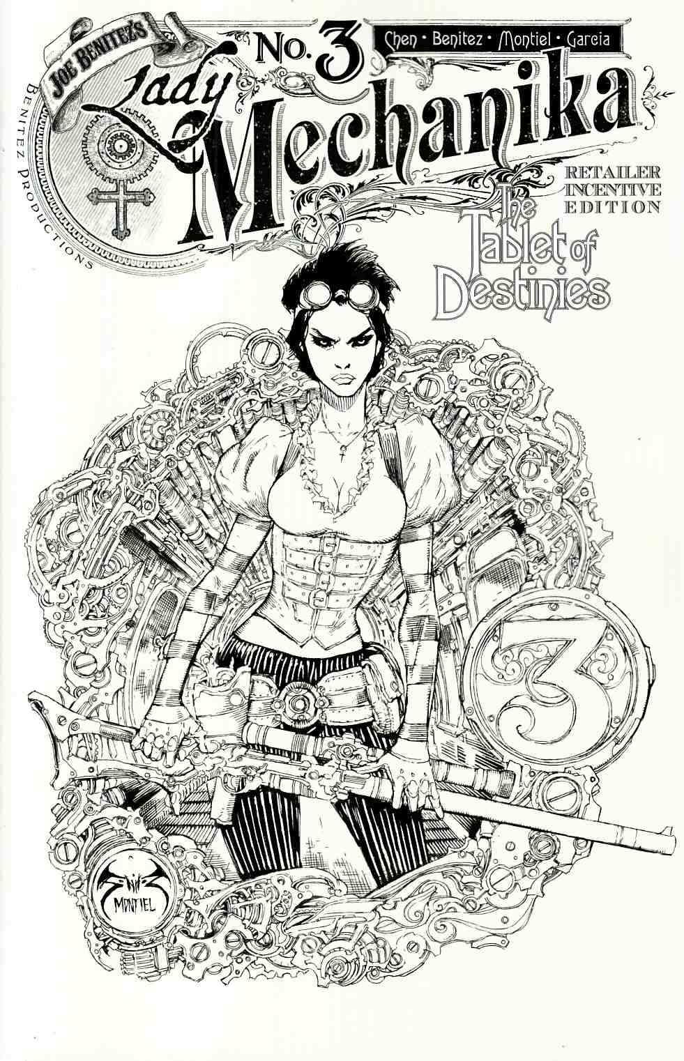 Lady Mechanika Tablet Of Destinies #3 Cover C- Benitez B&W Incentive [Benitez Comic] THUMBNAIL