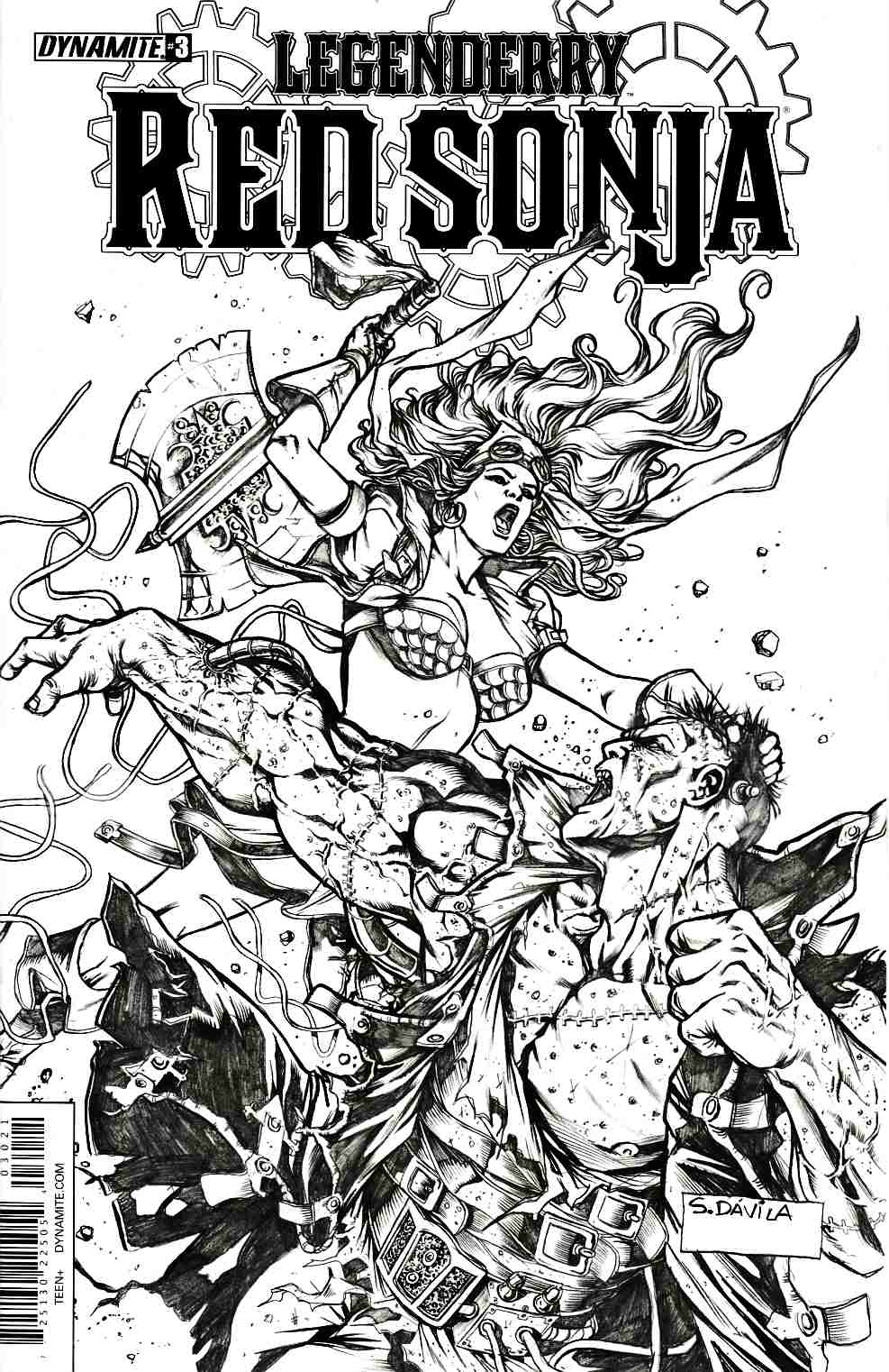Legenderry Red Sonja #3 Davila B&W Variant Cover [Dynamite Comic] LARGE
