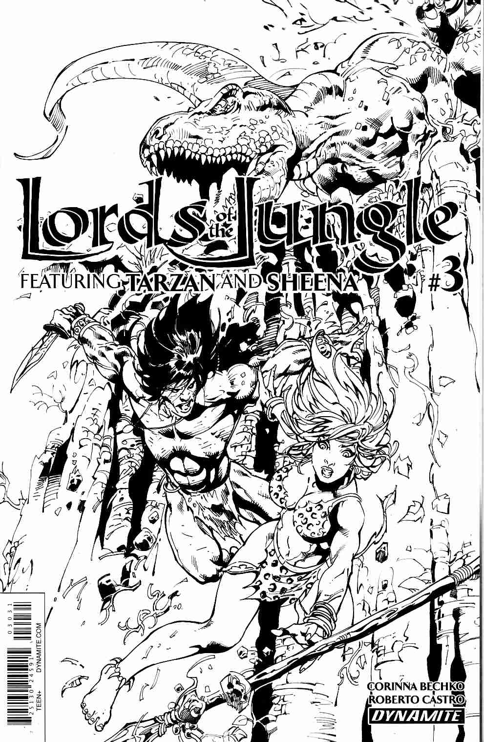 Lords of the Jungle #3 Cover C Castro B&W Variant [Dynamite Comic] THUMBNAIL
