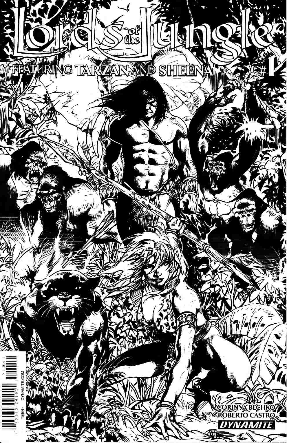 Lords of the Jungle #1 Cover D- Castro B&W Incentive [Dynamite Comic]_THUMBNAIL