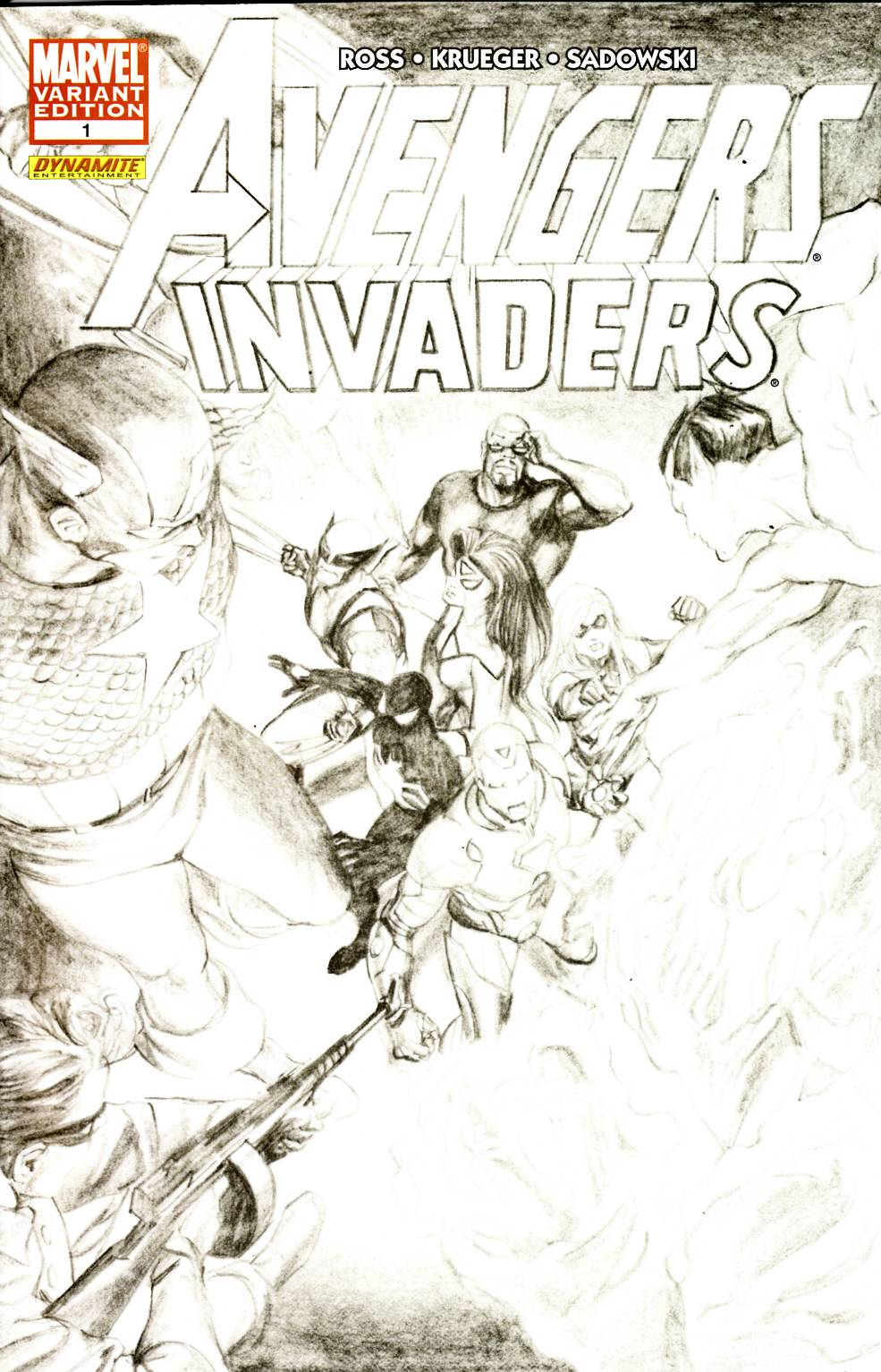 Avengers Invaders #1 Ross Sketch Variant Cover Fine Plus (6.5) [Marvel Comic] THUMBNAIL
