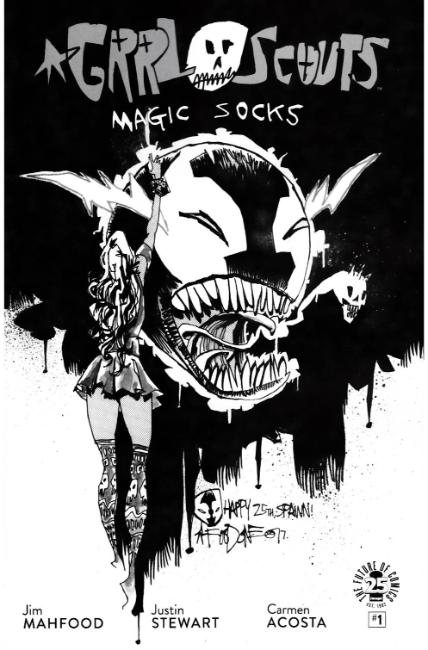 Grrl Scouts Magic Socks #1 Cover D- Spawn Month B&W [Image Comic]_THUMBNAIL