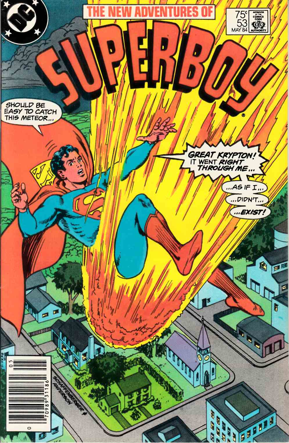 New Adventures of Superboy #53 Newsstand Edition Near Mint  (9.4) [DC Comic] LARGE