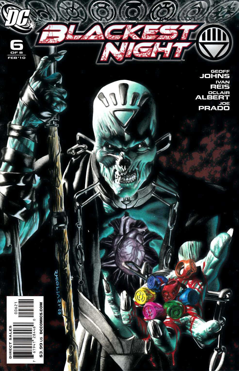 Blackest Night #6 Migliari Variant Cover Near Mint Minus (9.2) [DC Comic] THUMBNAIL
