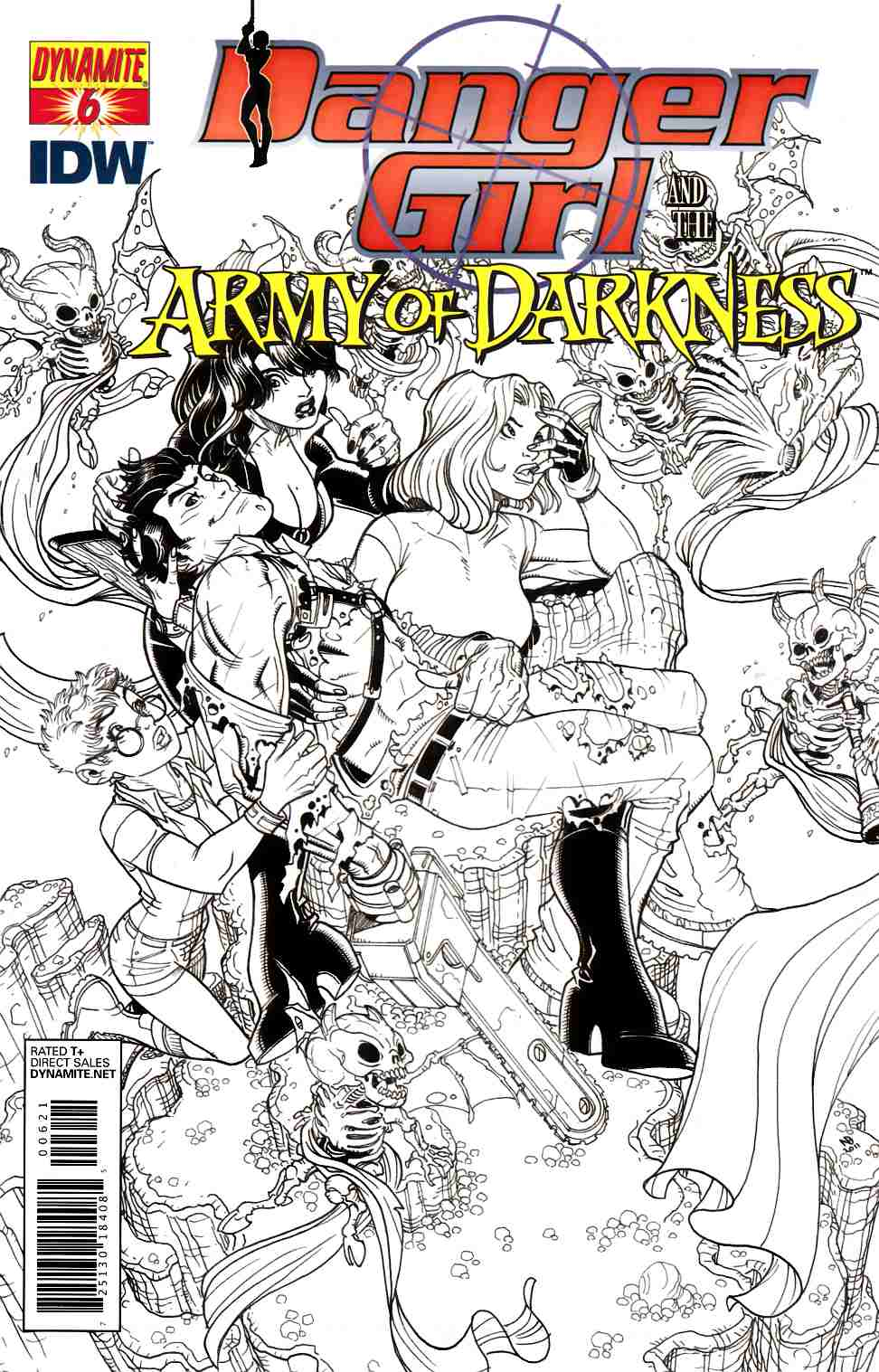 Danger Girl Army Of Darkness #6 Bradshaw B&W Incentive Cover [Dynamite Comic] LARGE