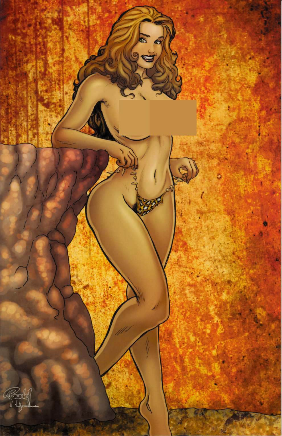 Cavewoman Face Off #1 Cover D- Root Nude [Amryl Comic] LARGE