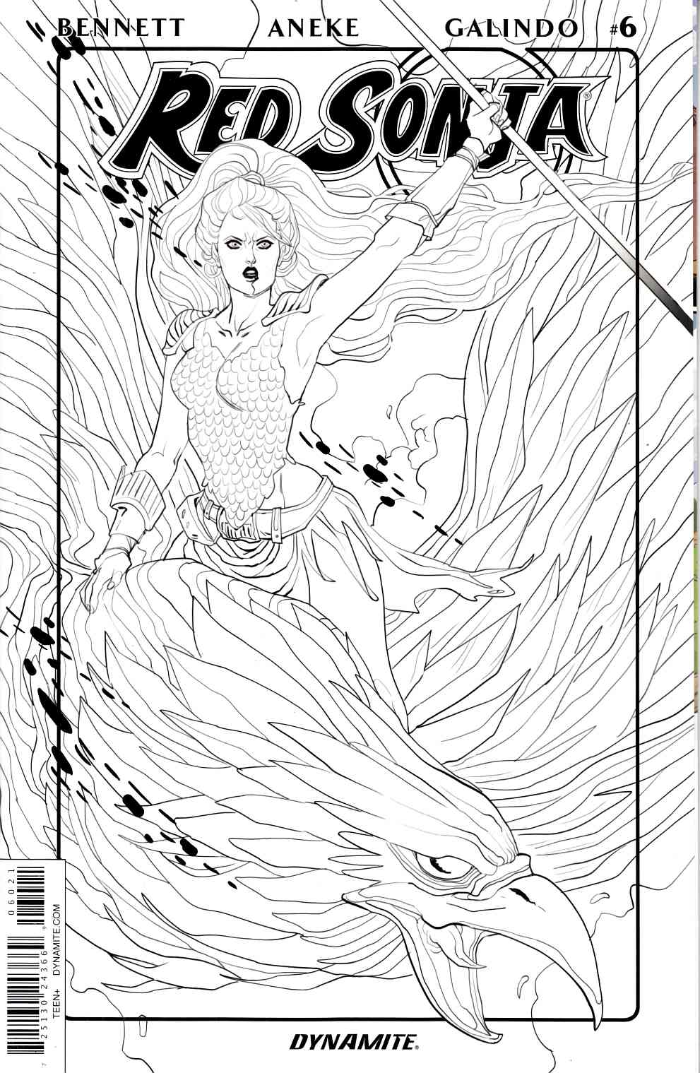 Red Sonja Volume 3 #6 Cover B Sauvage B&W Variant [Dynamite Comic]_THUMBNAIL
