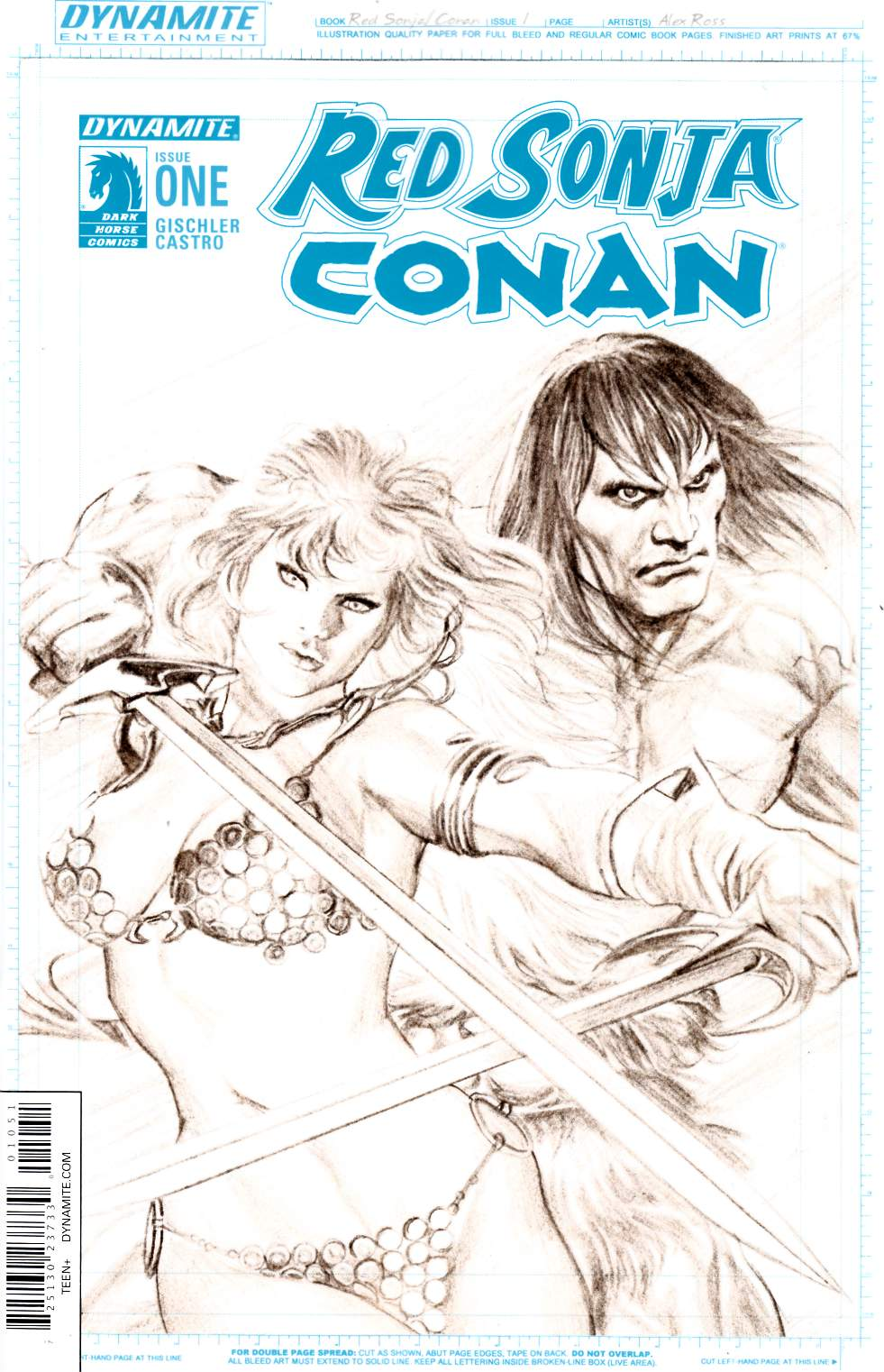Red Sonja Conan #1 Cover E- Ross Artboard Incentive [Dynamite Comic]