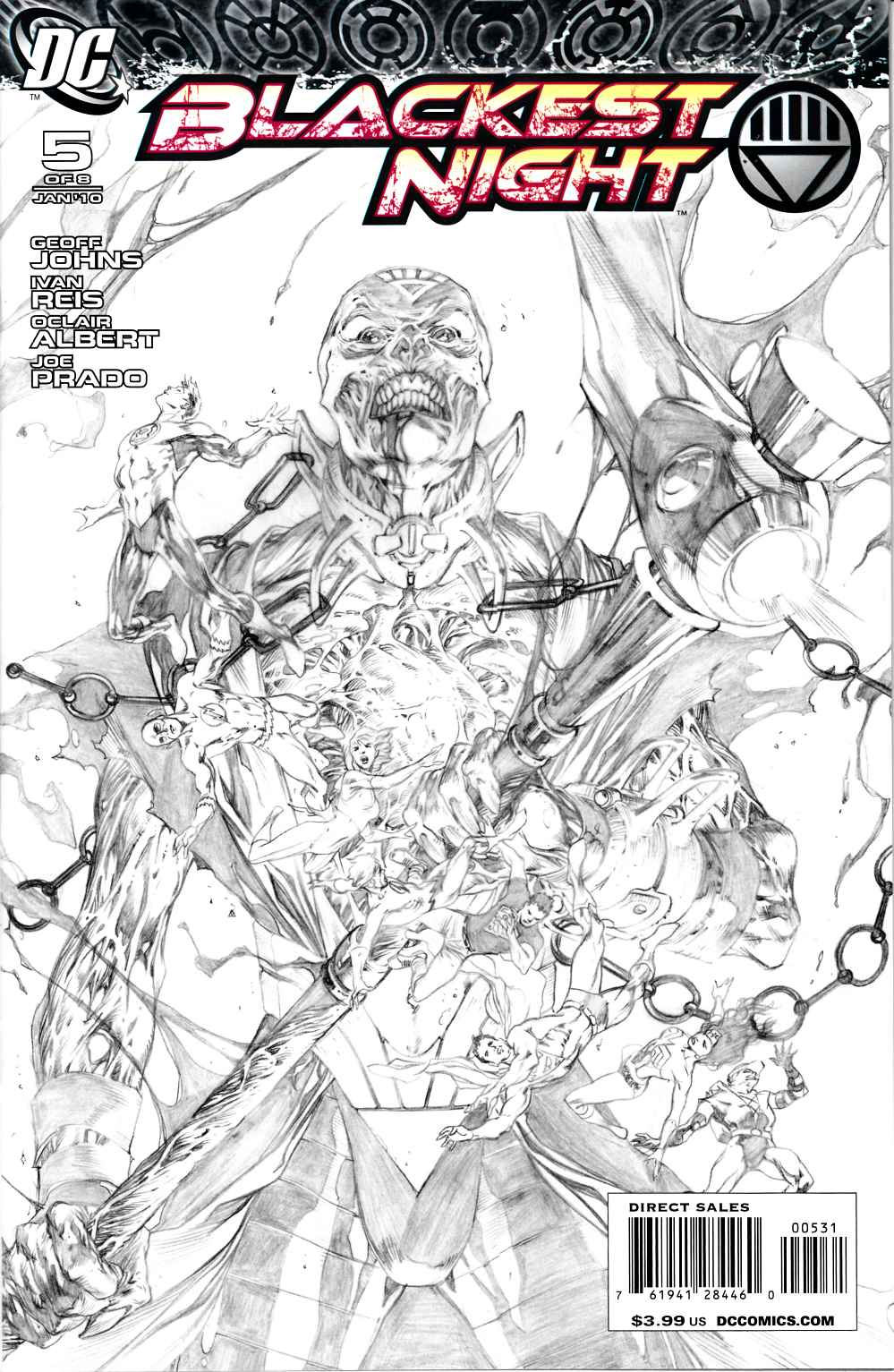 Blackest Night #5 Reis Sketch Variant Cover Near Mint (9.4) [DC Comic] LARGE