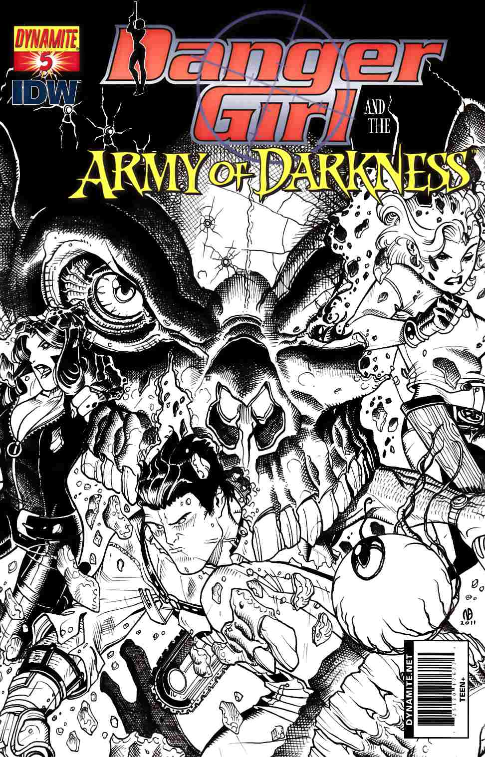 Danger Girl Army Of Darkness #5 Bradshaw B&W Incentive Cover [Dynamite Comic] THUMBNAIL