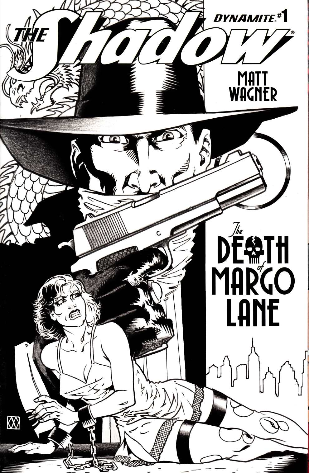 Shadow Death of Margo Lane #1 Cover B- B&W Incentive [Dynamite Comic] LARGE