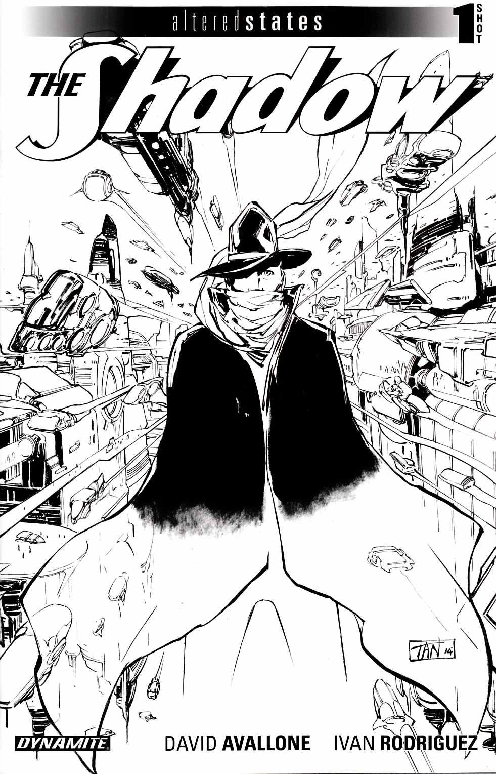 Altered States the Shadow (One Shot) Tan B&W Incentive Cover [Dynamite Comic] THUMBNAIL