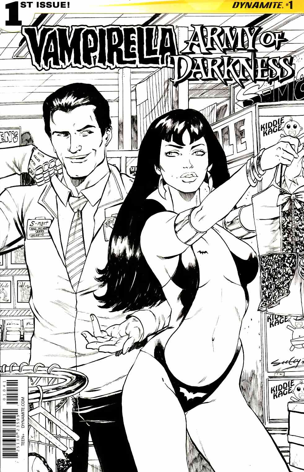 Vampirella Army of Darkness #1 Cover D- Seeley B&W Incentive [Dynamite Comic]_THUMBNAIL