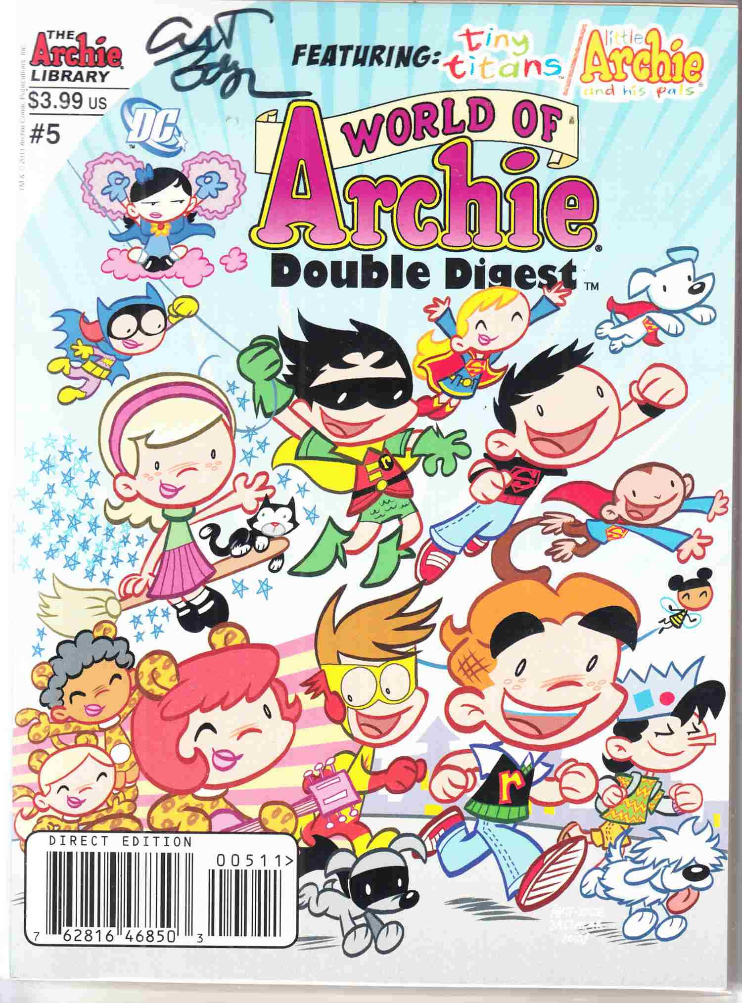 World Of Archie Double Digest #5 Near Mint (9.4) Signed By Art Baltazar [Archie Comic] THUMBNAIL