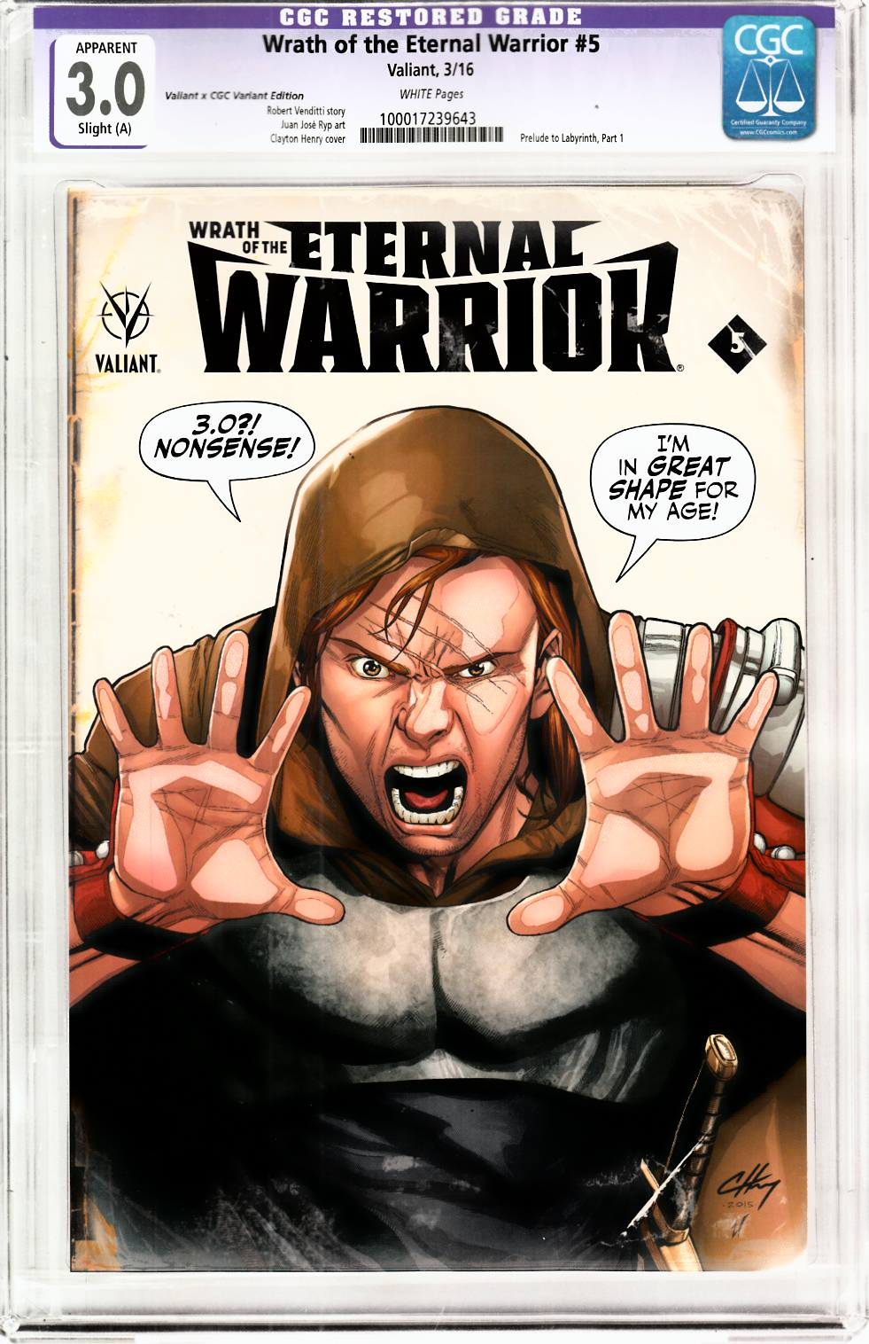 Wrath of Eternal Warrior #5 Cover C- Henry CGC Replica [Valiant Comic] THUMBNAIL