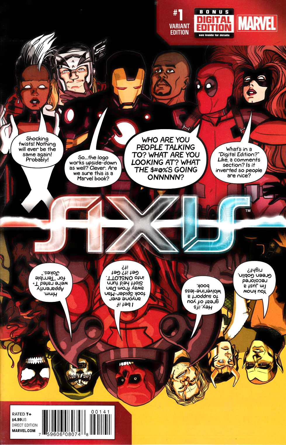 Avengers and X-Men Axis #1 Deadpool Party Variant Cover [Comic] THUMBNAIL