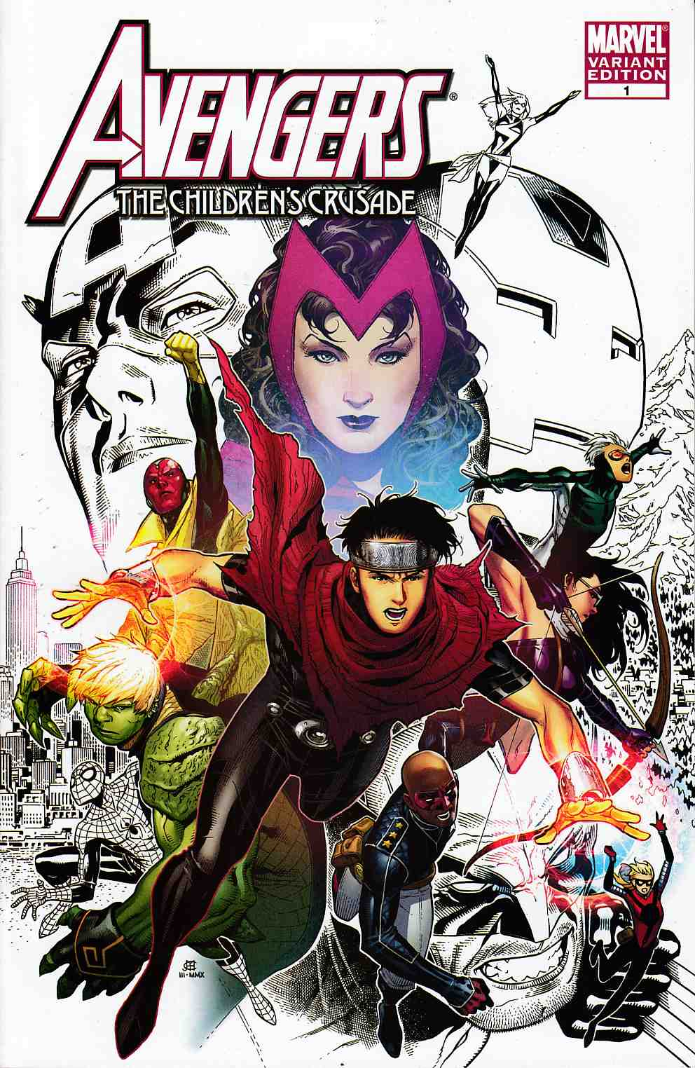 Avengers Childrens Crusade #1 Cheung Partial Sketch Variant Cover Near MInt (9.4) [Marvel Comic] THUMBNAIL