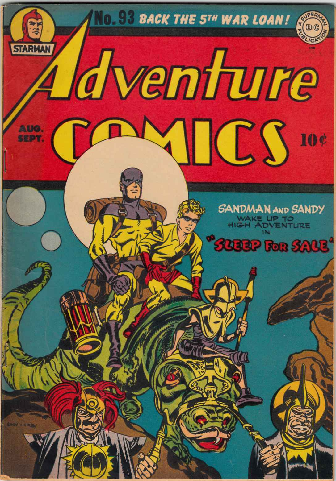 Adventure Comics #93 Fine Plus (6.5) Signed By Jack Kirby [DC Comic]