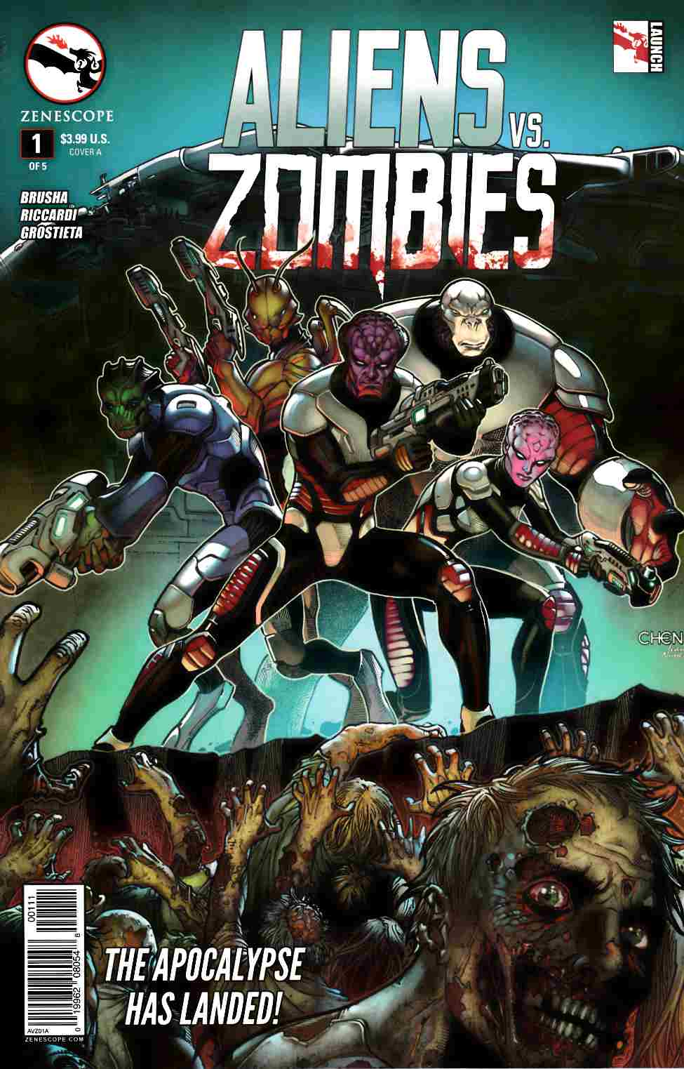 Aliens vs Zombies #1 Cover A- Chen [Zenescope Comic] THUMBNAIL